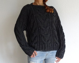 cace80dd40df hand cable knit alpaca wool slouchy oversized women s casual fashion braided  bulky sweater jumper pullover made to order