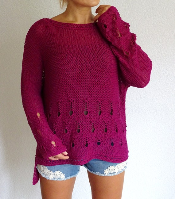 Women's Holes Oversized Sweater Summer Cotton Ready Summer Cotton Jumper Loose to Sweater ship Knit Bordeaux Purple Slouchy Sweater qfw5nxIB