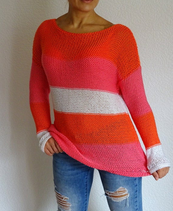 Knit And Jumper Summer Orange Pink Sweater White Sweater Ready
