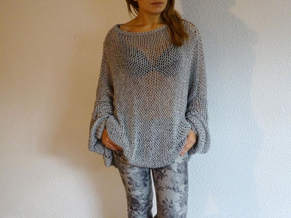 order knit sweater size cotton oversized to sweater oversized knit sweater loose sweater pearlgray plus knit sweater slouchy made gw04Tq4