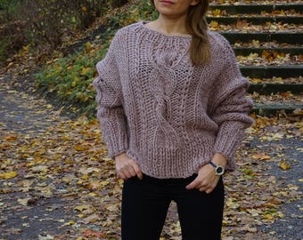 Hand knit womens sweater pullover jumper/ Loose knit/ Oversized/ Slouchy/ Cable knit/ Knit pullover/ Knit sweater/ Pure wool sweter