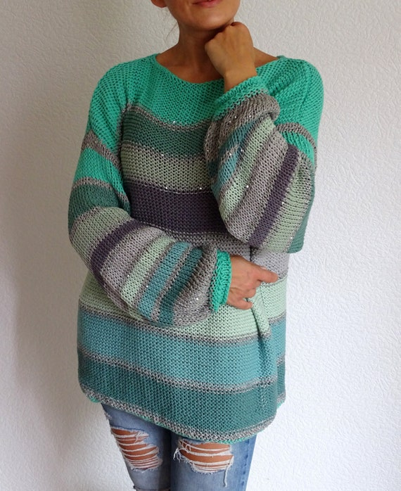 Ready organic cotton knit sweater oversized Loose Oversized Slouchy sweater sweater cotton sweater Knit to womens ship knit Knit Loose wx7CBXYqaC