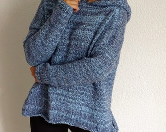 Hand Knit Hooded Womens Sweater, Oversized Sweater, Knit Hooded Pullover, Knit Womens Sweater, Hooded Pullover, Knit Jumper, Ready to ship