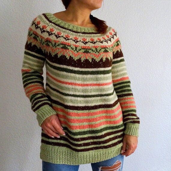 On Sale Knit Fair Isle Icelandic Sweater Lopapeysa Sweater Etsy