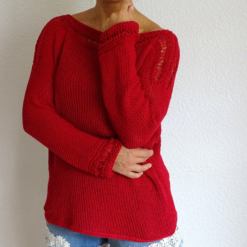 873aaf65c809 ON SALE Red loose knit casual sweater knit sweater jumper