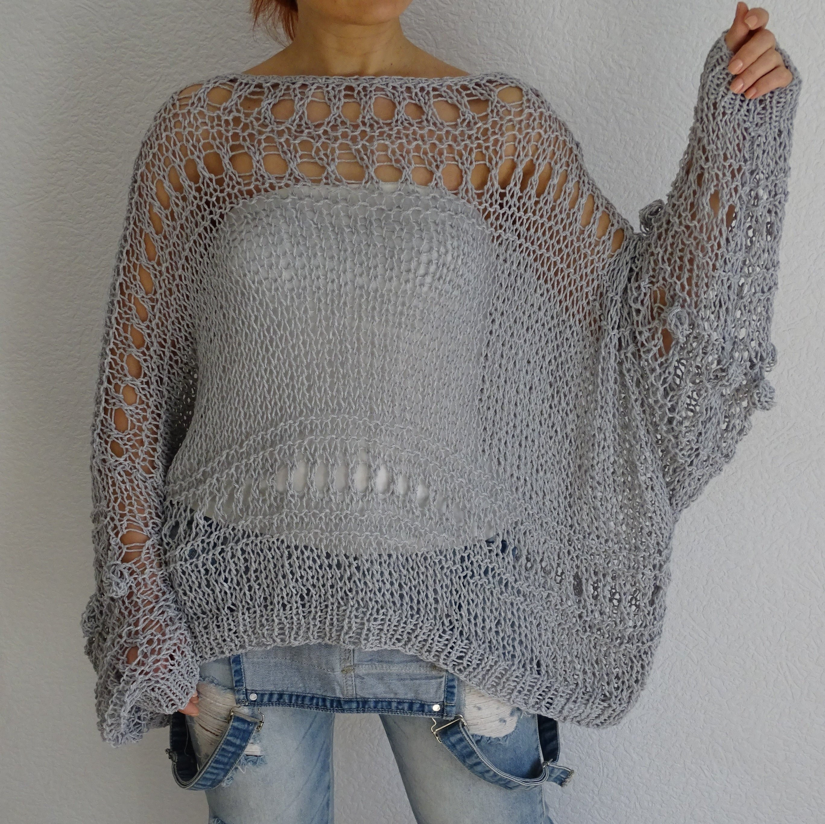 3c5d74530e4e Hand knitted loose oversized womens sweater Knit oversized