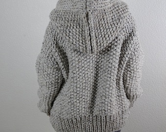 Loose knit chunky wool hooded oversized slouchy casual women's cardigan jacket, boho hippie style warm bulky cardigan sweater, made to order