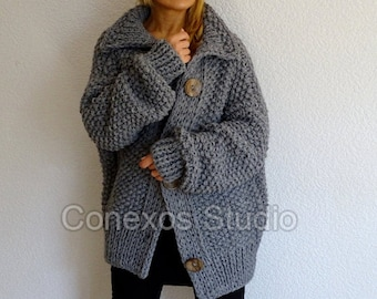 Pearl Cocoon medium gray loose knit oversized slouchy casual bohemian women's cardigan loose knit chunky slouchy oversized cardigan sweater