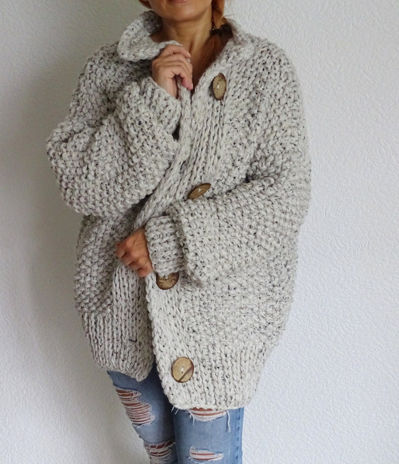 5eccab761 loose knit cunky oversized slouchy casual women's cardigan image 0 ...