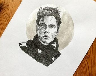 Gus Kenworthy - Original pen and ink portrait with handtinted metallic detail.