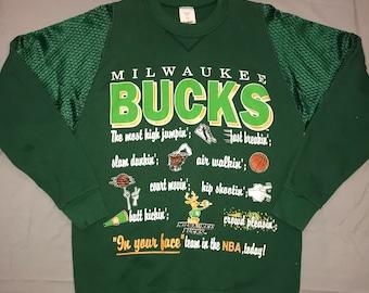 2380aee0a1c Vintage Milwaukee Bucks Crew Neck Sweatshirt