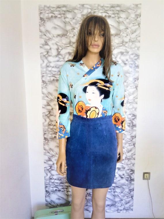 Blue leather skirt, leather skirt, suede leather s