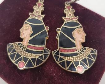 Enamel Cloisonne Egyptian Revival Drop Earrings