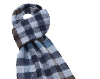 Moorland Check Gray Scarf Made in England Merino Lambswool