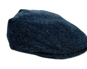 e0adbb58bfd6c Harris Tweed Flat Cap -Scally Cap - Navy Blue Tweed - Adjustable One Size  Fits All - Unisex - Bronte Moon