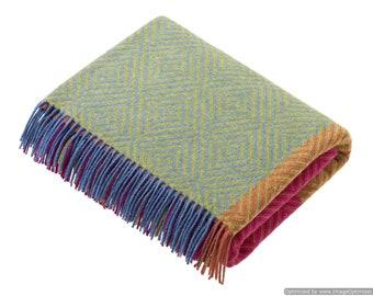 Block Check Throw/Blankets - Harlequin Range - Bright - Merino Lambswool Throw