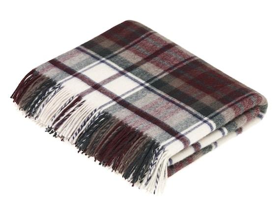 Bronte Moon Merino Lambswool VAR Windowpane Gray Multi Throw Blanket Made in the UK