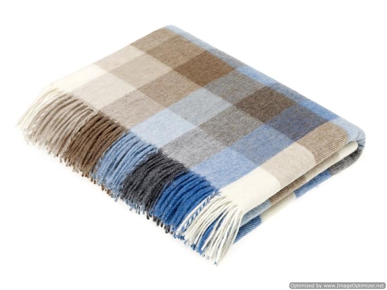 Harlequin Aqua Blue Check Made in England Bronte Moon Merino Lambswool Throw Blanket