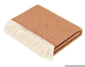 Merino Lambswool Throw Blanket -  Parquet - Saffron
