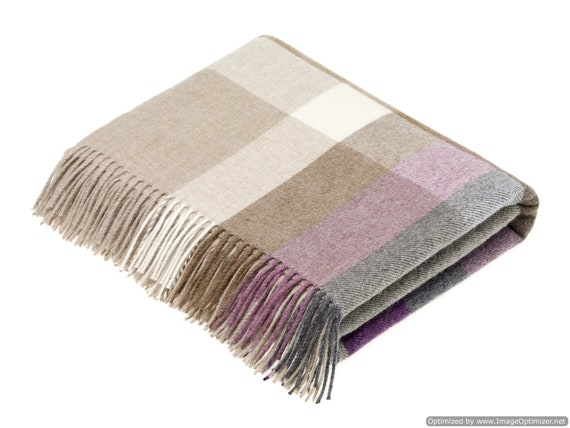 Made in the UK Merino Lambswool Country Check Throw Blanket Pateley Damson