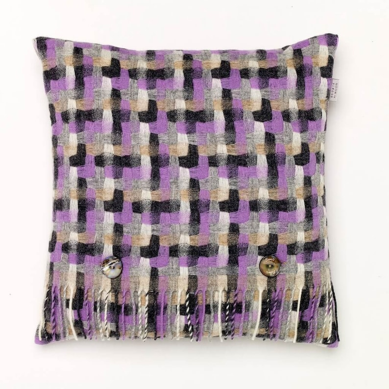 Made in England Merino Lambswool Geometric Clover Purple and Gray Throw Pillow Decorative Pillow