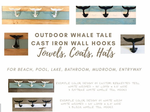 Surf Wall Rack with Five Cast Iron Hooks Home Bathroom Coat Rack Towel Rack