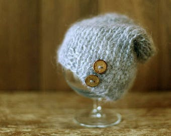 Newborn hat 10 COLORS, baby boy hat, knit mohair hat, hat with buttons