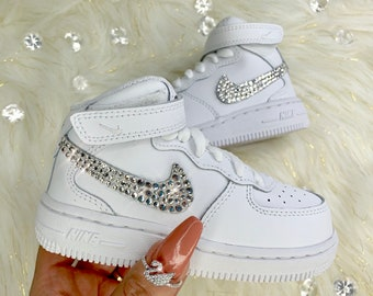 1592e84425 Nike Swarovski Crystal Air Force 1 High Top Baby Shoes Girl's Toddler  Sneakers