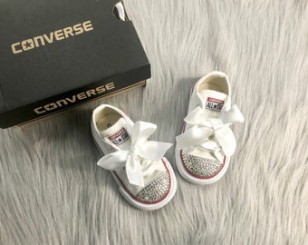 4a589a8ba09c3 Baby Bling Converse Toddler Swarovski Crystal Sneakers Low Top Chucks