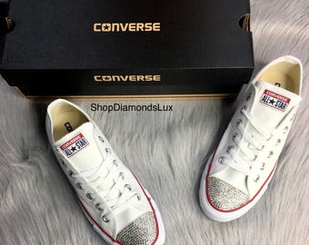 201d272bc4591c Bling Swarovski Crystal White Converse All Star Chucks Low Top In White  Women s Bling Diamond Sneakers