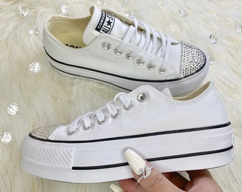 27ddb78f558a Women s Platform Converse Custom With Swarovski Diamond Crystals Bling  Wedding Sneakers
