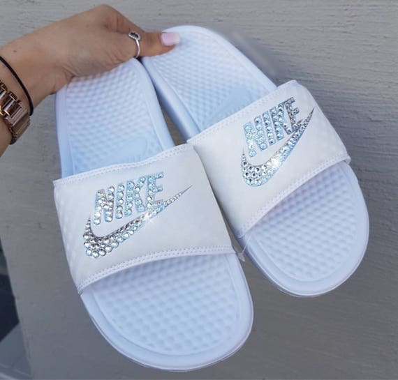 brand new f08c8 d1633 Women s Slides Black Slides In Swarovski Or Bling Custom White Bling Nike  qnx4wEP ...