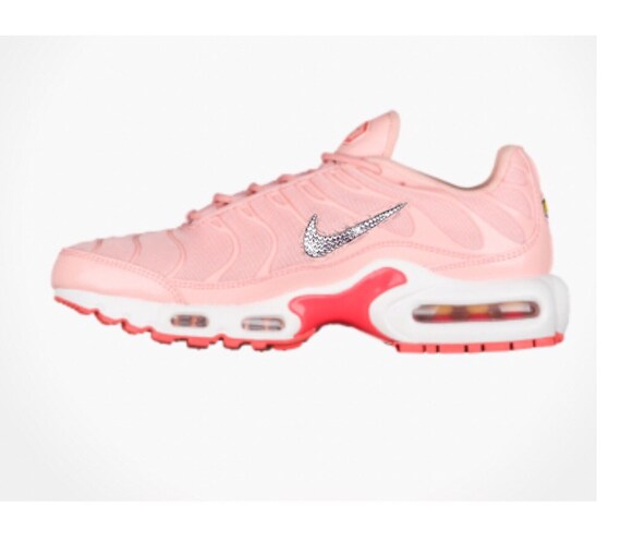 Bling Swarovski Nike Air Max Plus Coral Pink Running Shoes  7991d7fcfa