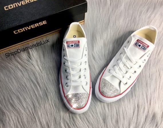 Bling Swarovski Crystal White Converse All Star Chucks Low Top In White Women's Bling Diamond Sneakers