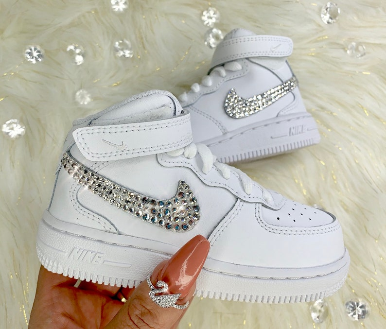 2ddfa888187d9 Nike Swarovski Crystal Air Force 1 High Top Baby Shoes | Etsy