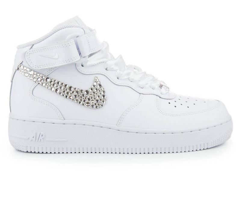 Men s Custom Swarovski Crystal Nike Air Force One White  132089e827