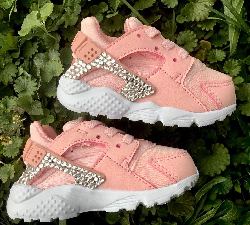 d52ee60d543 Swarovski Crystal Nike Huarache Toddler Girls Bling Pink