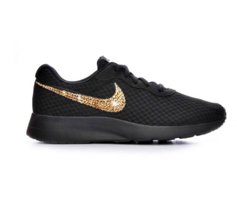 c63f3b51057a1a Gold Swarovski Crystal Nike Tanjun Women s Bling Diamond