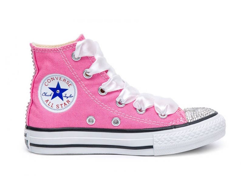 89ab3f1129c48 Swarovski Crystal Pink Converse All Star High Top Women's Bling Sneakers