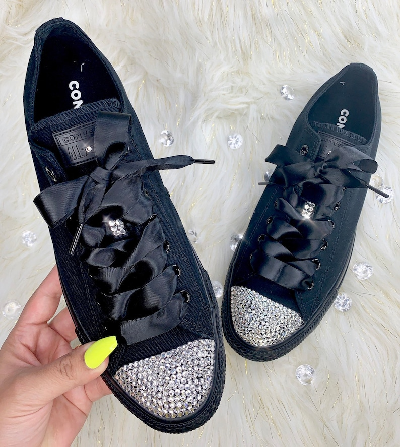 a5f836770376f Swarovski Converse All Star Low Top Bling Women's Diamond Sneakers Satin  Ribbon Laces
