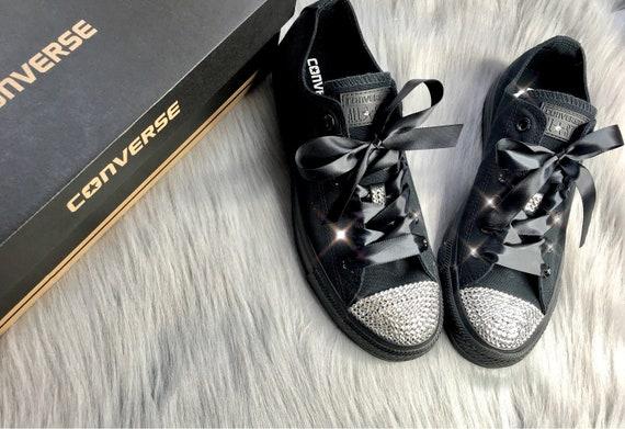 Bling Converse wszystkie gwiazdy Low Top Swarovski Crystal damskie uchwyty  ślubne Diamond sneakers 3395abdac73