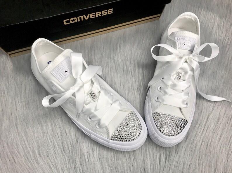 94b3aeab0f32e Bling Swarovski Converse All Star Low Top Women's Custom Sneakers