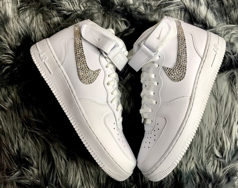 90953de417bab Men's Custom Swarovski Crystal Nike Air Force One White Kicks