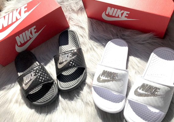 Swarovski Nike Slides In Black Or White Women s Bling  fee98858b
