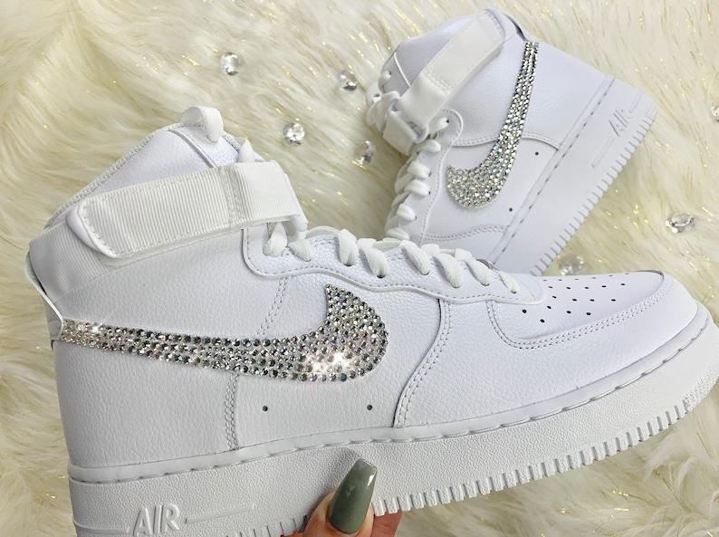 40936d4907efa Men's Custom Swarovski Crystal Nike Air Force One High Top White Kicks