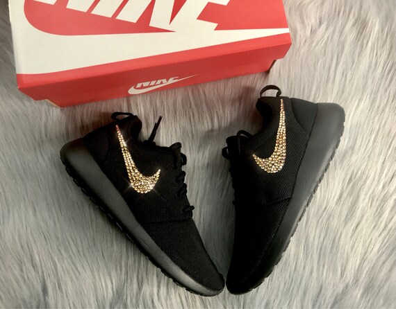 Roshe Crystal Diamond Swarovski Shoes Gold Bling Nike Bling Women's 6IpWZ