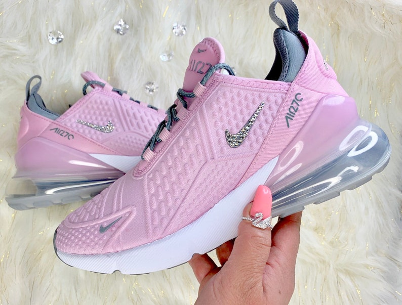 buy online d9cce 4c660 Bling Swarovski Crystal Nike Air Max 270 Grade School Youth Girl's Bling  Sneakers
