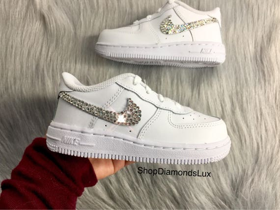 4d99b723dc Swarovski Crystal Nike Air Force 1 Low Baby Shoes Girl's | Etsy