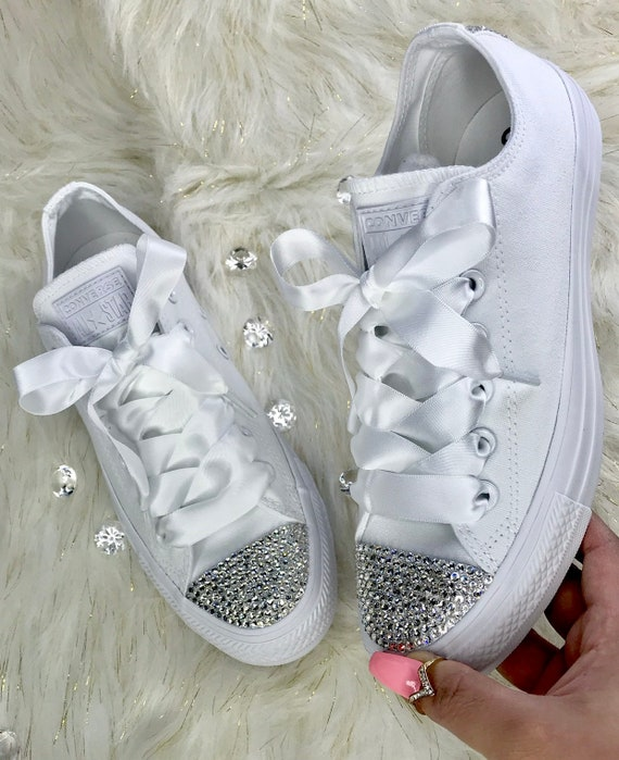 Bling Converse Custom With Swarovski Crystal White Converse All Star Low Top Women's Diamond Sneakers Satin Ribbon Laces