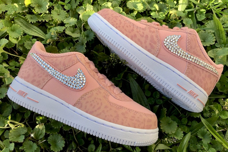 5a699fb32a08 Nike Swarovski Crystal Baby Cheetah Print Pink Air Force 1